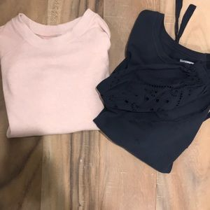 Sweaters - Light pink and navy sweatshirts